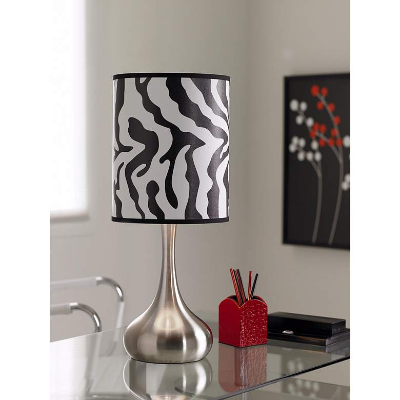 Safari Zebra Giclee Droplet Table Lamp in scene