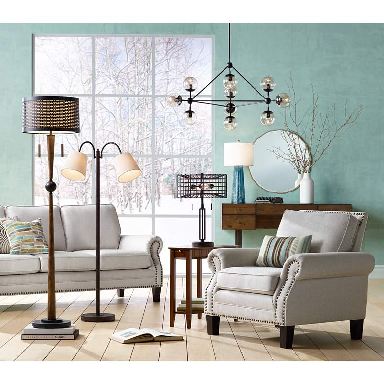 Seneca Bronze Twin Arm Gooseneck Floor Lamp in scene