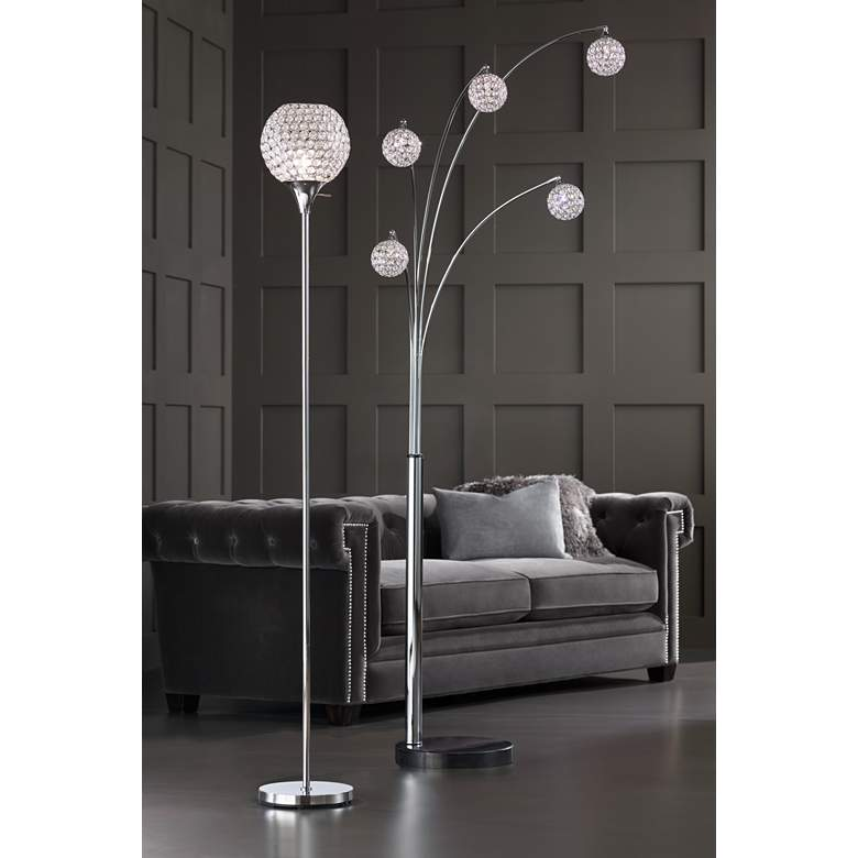 Kryss Chrome and Beaded Acrylic Torchiere Floor Lamp in scene