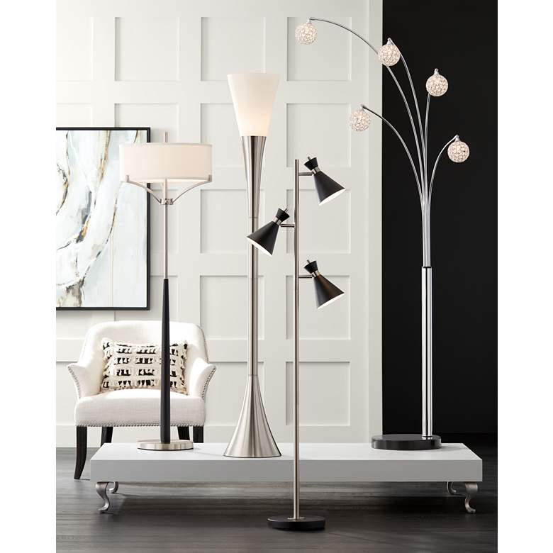 Possini Euro Design Allegra Crystal Ball Arc Floor Lamp in scene