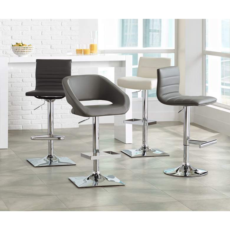 Gustavo Chrome and Gray Adjustable Swivel Bar Stool in scene