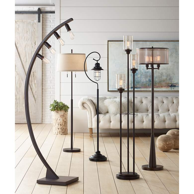 Nayla Bronze Double Pull Chain Floor Lamp Off-White Shade in scene