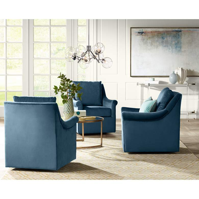 Deanna Blue Upholstered Swivel Armchair