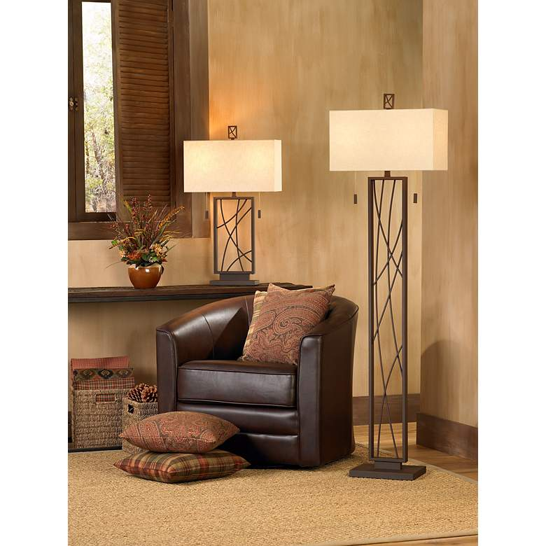 Crossroads Dark Rust Contemporary Floor Lamp in scene