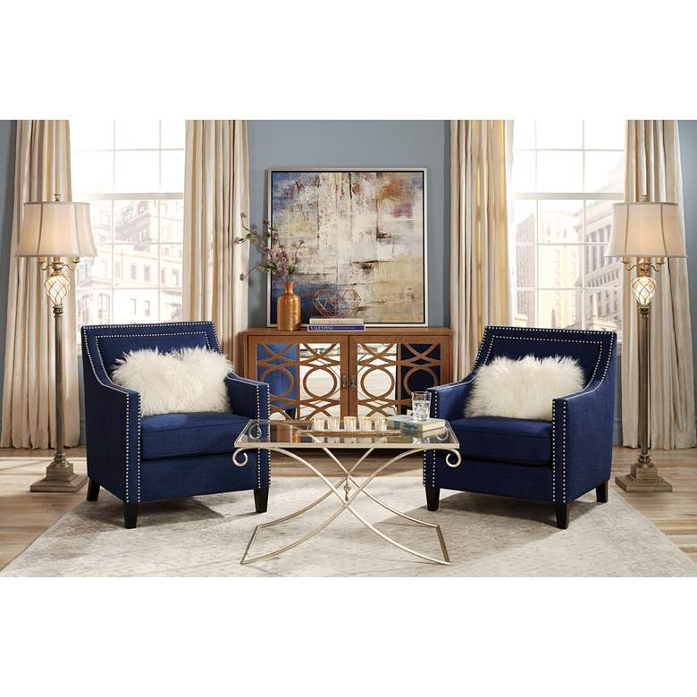Beguile Blue Azure Fabric Tufted Armchair 13h40 Lamps
