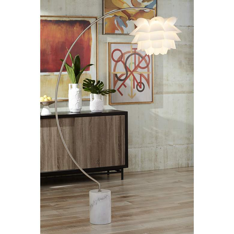Possini Euro White Flower Arc Floor Lamp in scene