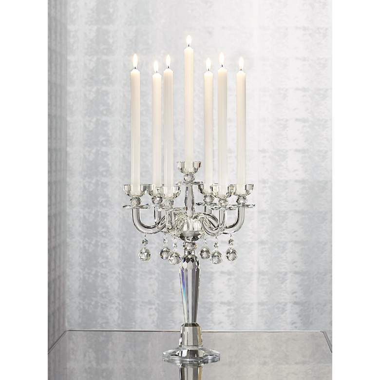 "Huntington 19"" High Crystal Candelabra Taper Candle Holder in scene"