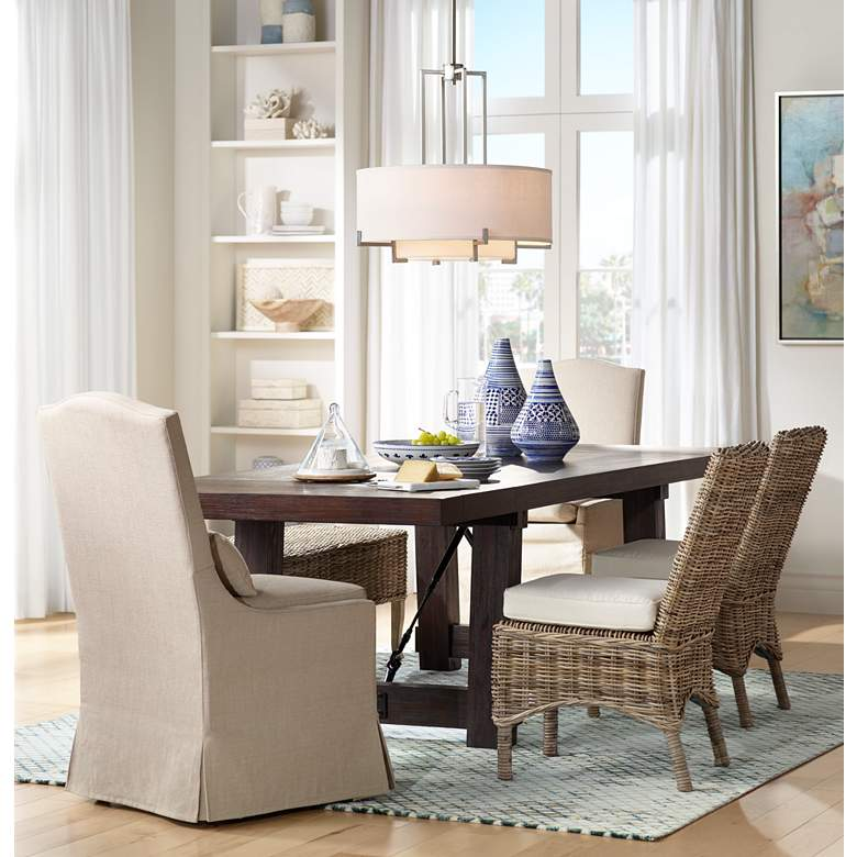 Juliete Hamlet Pebble Slipcover Dining Chair in scene