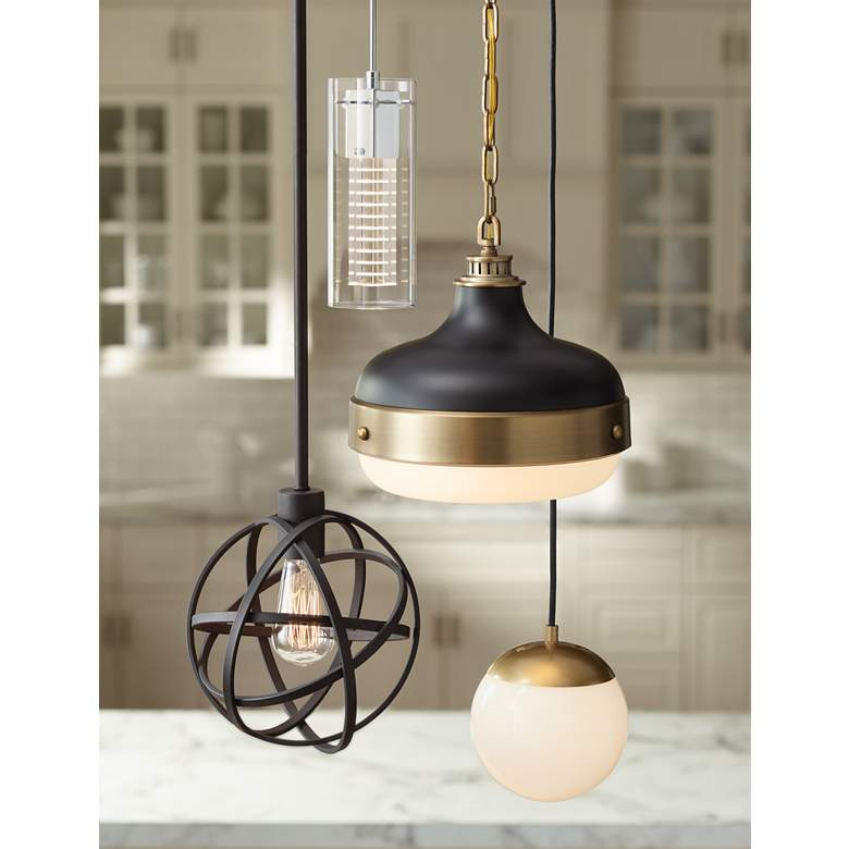 "Feiss Cadence 13"" Wide Antique Brass Mini Pendant"