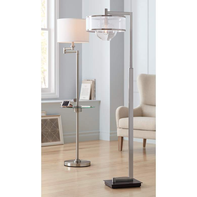 Skylar Brushed Nickel Tray Floor Lamp with USB Port in scene