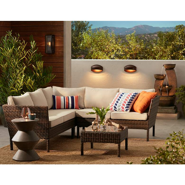 Bella Springs Wicker 4-Piece Outdoor Sectional Patio Set