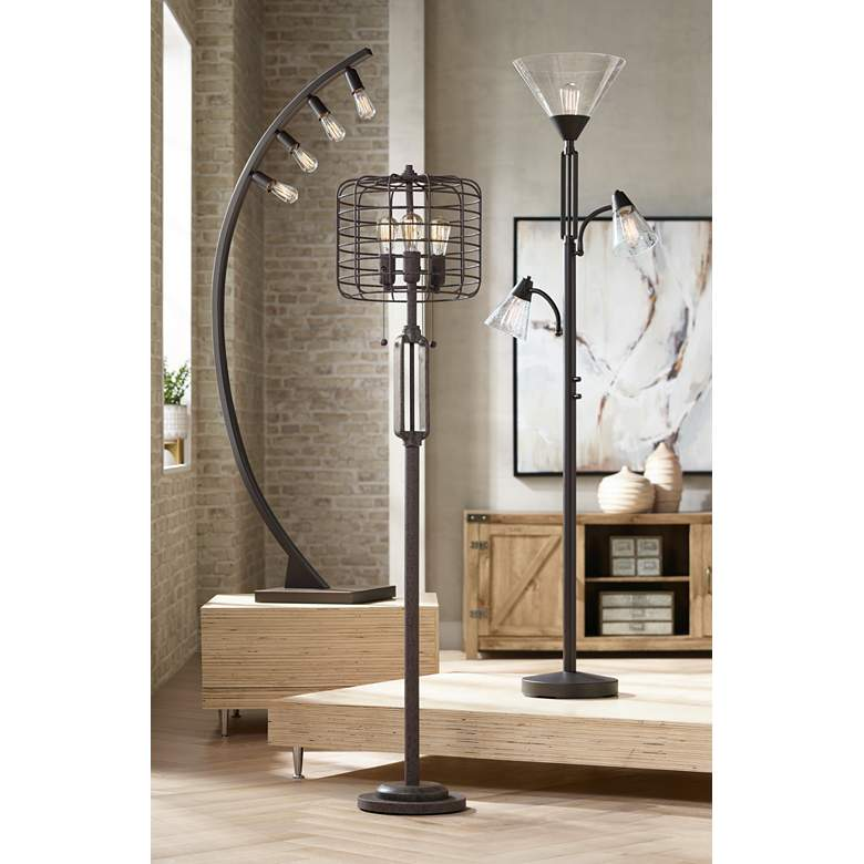 "Industrial Cage 65"" High Metal Floor Lamp with Edison Bulbs in scene"