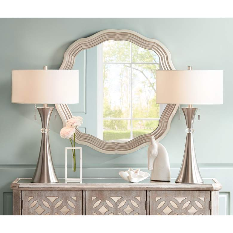 "Dara Silver 32 1/2"" Scalloped Round Wall Mirror in scene"