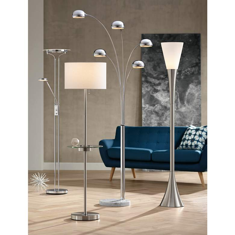 Caper Nickel Tray Table Floor Lamp with USB Port and Outlet in scene