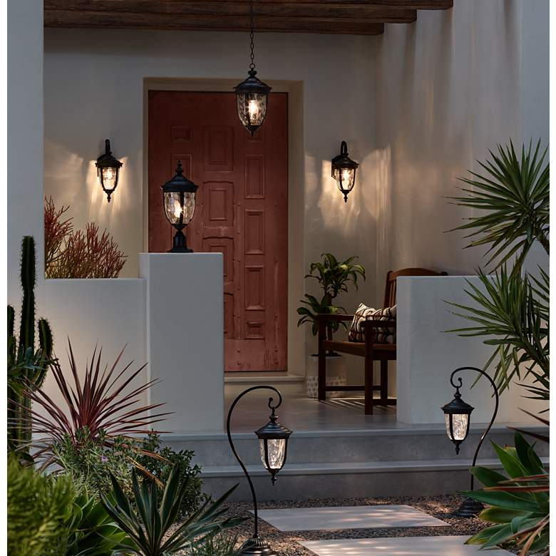 "Bellagio 18"" High Texturized Black Outdoor Hanging Light in scene"