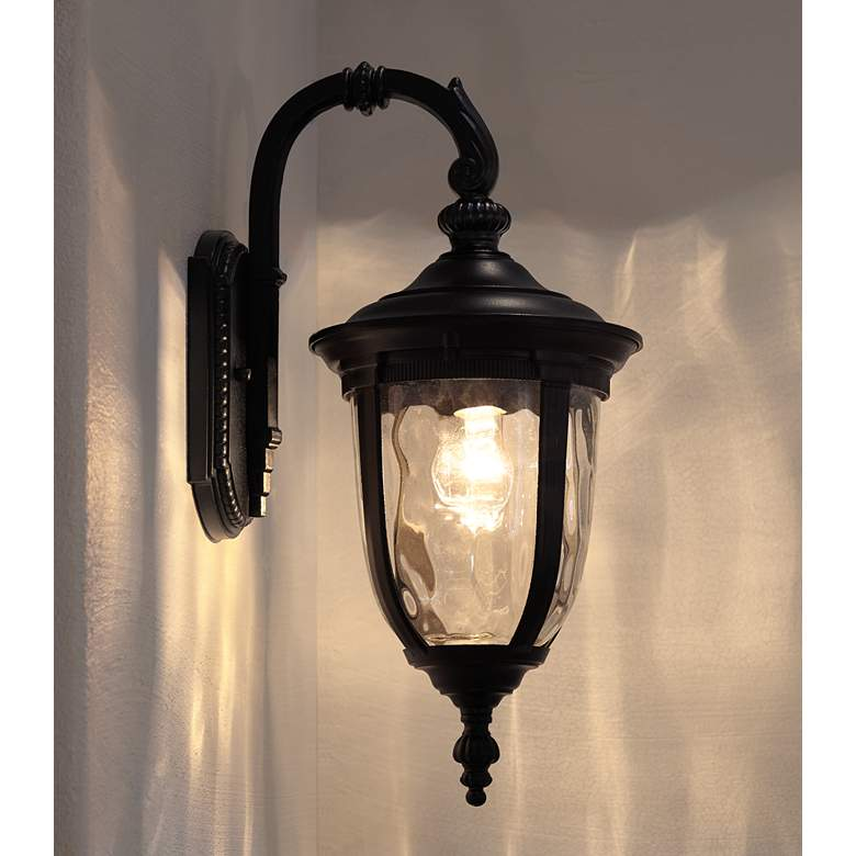"Bellagio 16 1/2"" High Black Downbridge Outdoor Wall Light in scene"