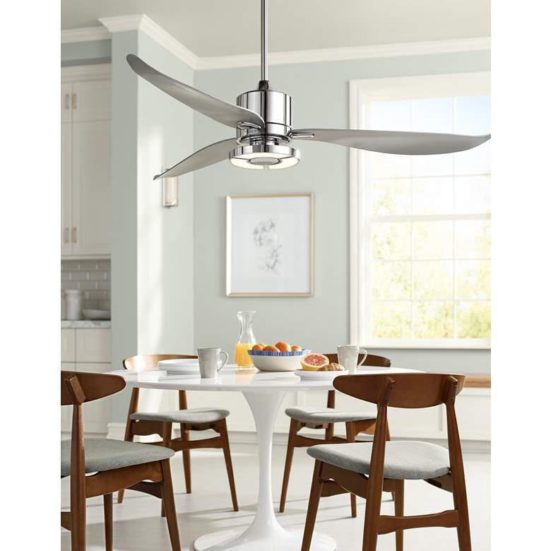 "56"" Possini Vengeance™ LED Chrome Ceiling Fan in scene"