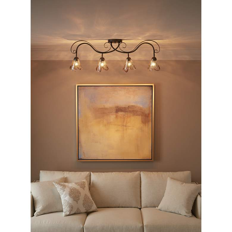 Organic Amber Glass 4-Light Ceiling Track Fixture in scene