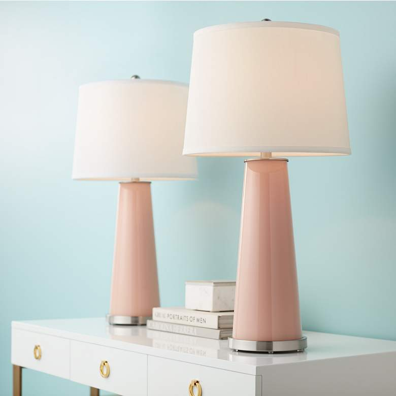 Mellow Coral Leo Table Lamp Set of 2 in scene