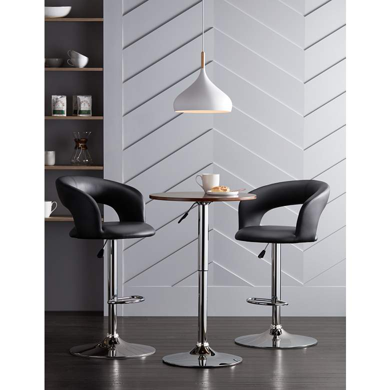 Groove Black Faux Leather Swivel Bar Stools Set