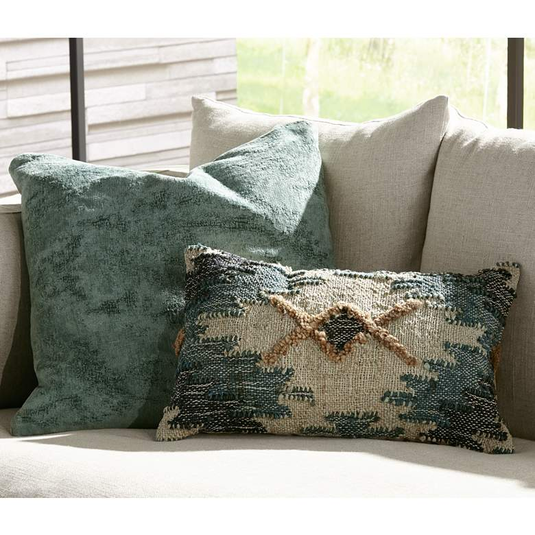 "Oliver Sage Green 22"" Square Throw Pillow in scene"