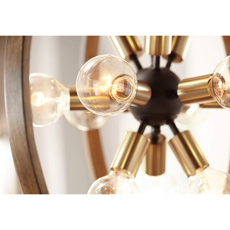"Stedman 25"" Wide 12-Light Brass and Wood Orb Chandelier in scene"