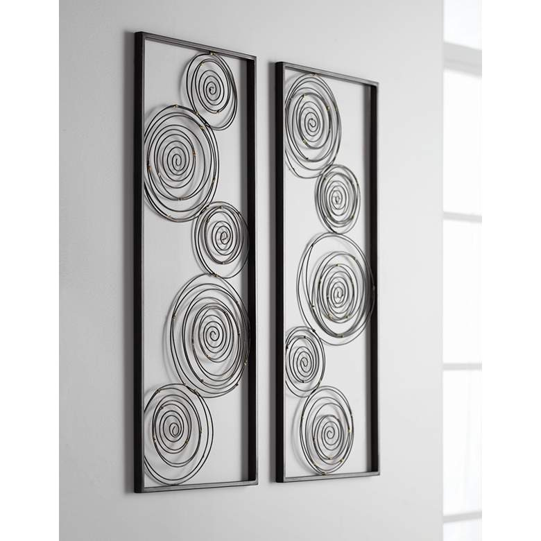 "Metallic Swirl 13 3/4"" x 35 1/2"" Wall Art Set of 2 in scene"