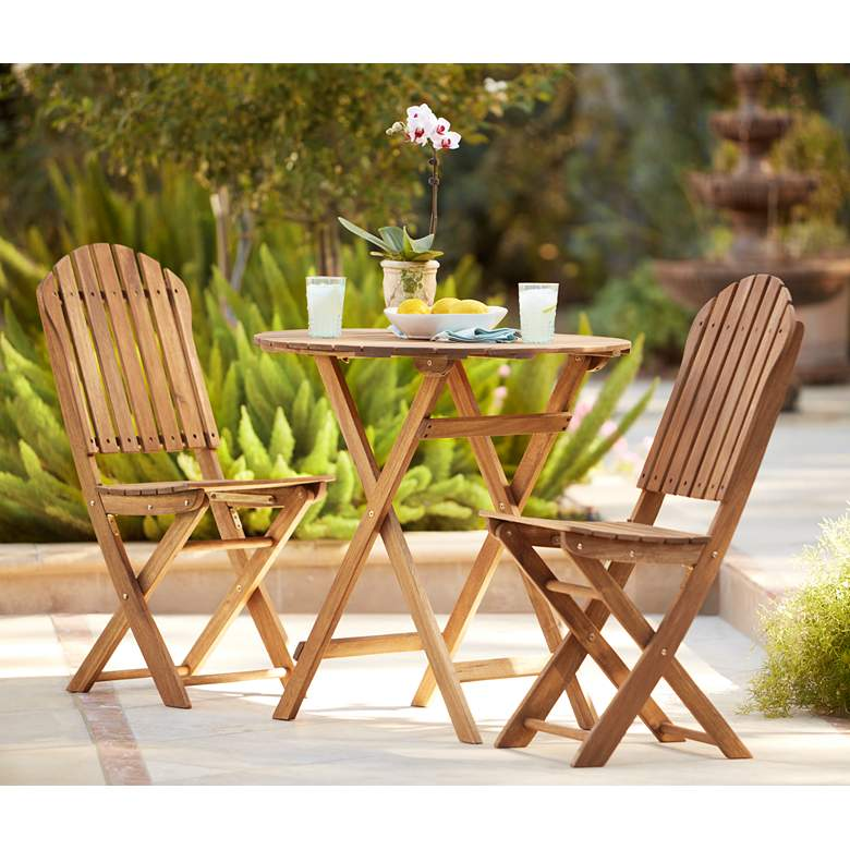 Monterey Natural Acacia Wood 3-Piece Bistro Dining Set in scene