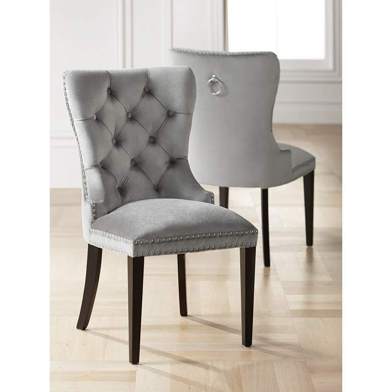 Euphoria Tufted Gray Velvet Dining Chair