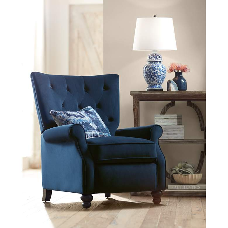 Bryce Blue Tufted Push Back Recliner Chair
