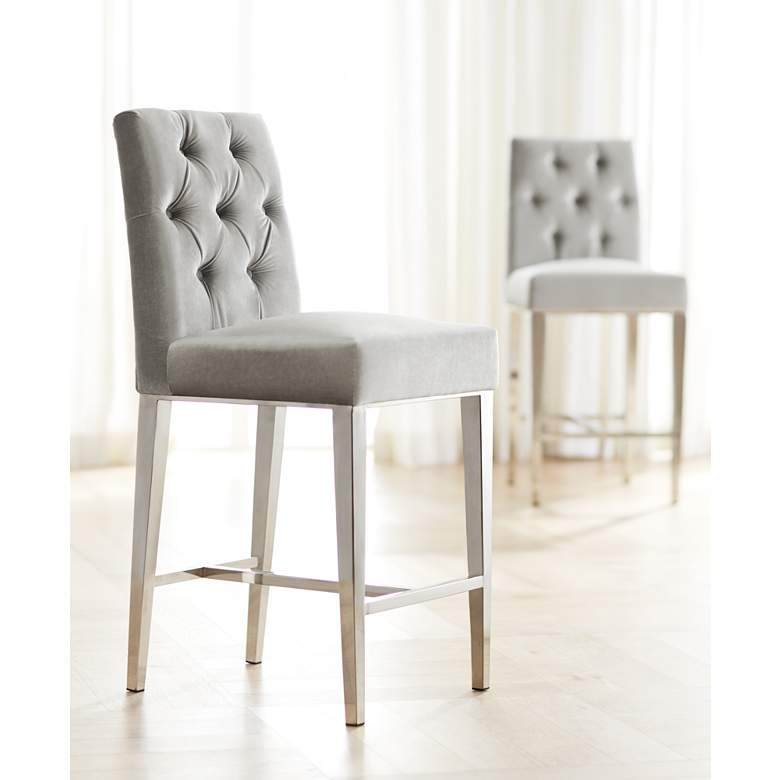"Megan 27 1/4"" Gray Tufted Back Counter Stool in scene"