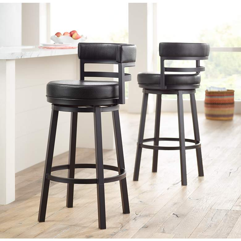 "Madrid 30 1/2"" Ford Black Faux Leather Swivel Bar Stool in scene"