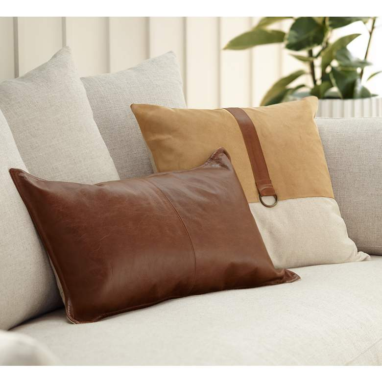 "Brown Leather 26"" x 14"" Throw Pillow"