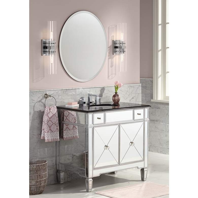 "Mackenzie Mirrored and Granite 36""W Bathroom Sink Vanity in scene"