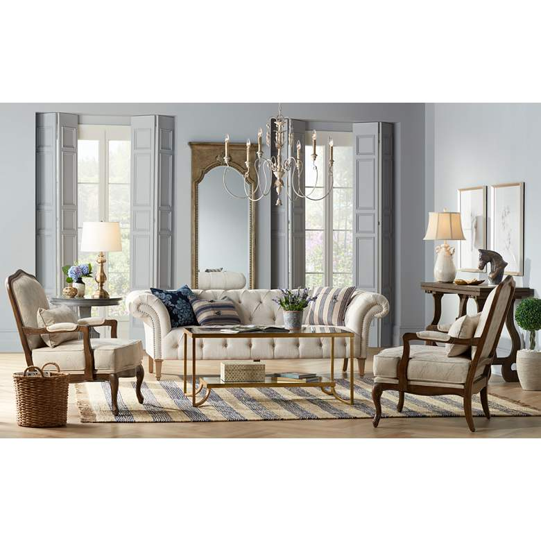 "Tessa 90 3/4"" Wide Tufted Beige Linen French Sofa in scene"