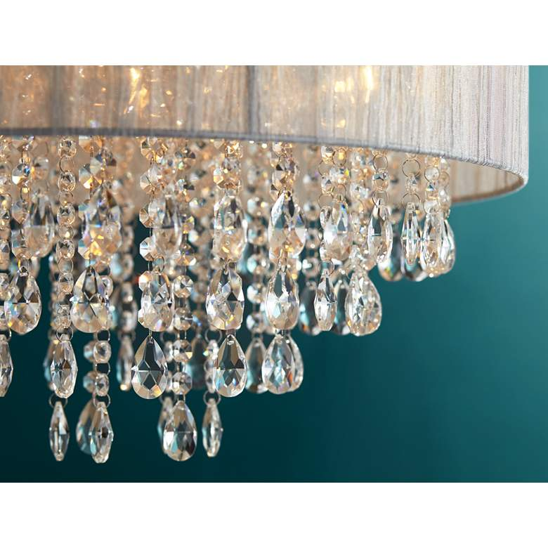"Possini Euro Jolie 20""W Silver Fabric Crystal Chandelier in scene"