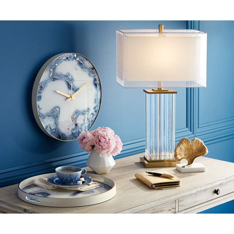 Vienna Full Spectrum Darcia Double Shade Crystal Table Lamp in scene