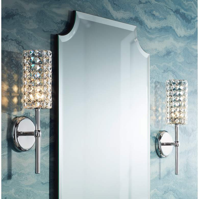 "Cesenna 16"" High Crystal Cylinder Wall Sconce in scene"
