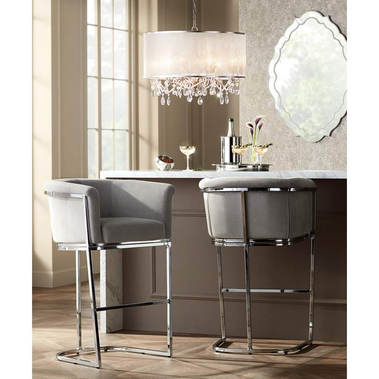 "Reign 31"" Gray Velvet and Chrome Barstool in scene"
