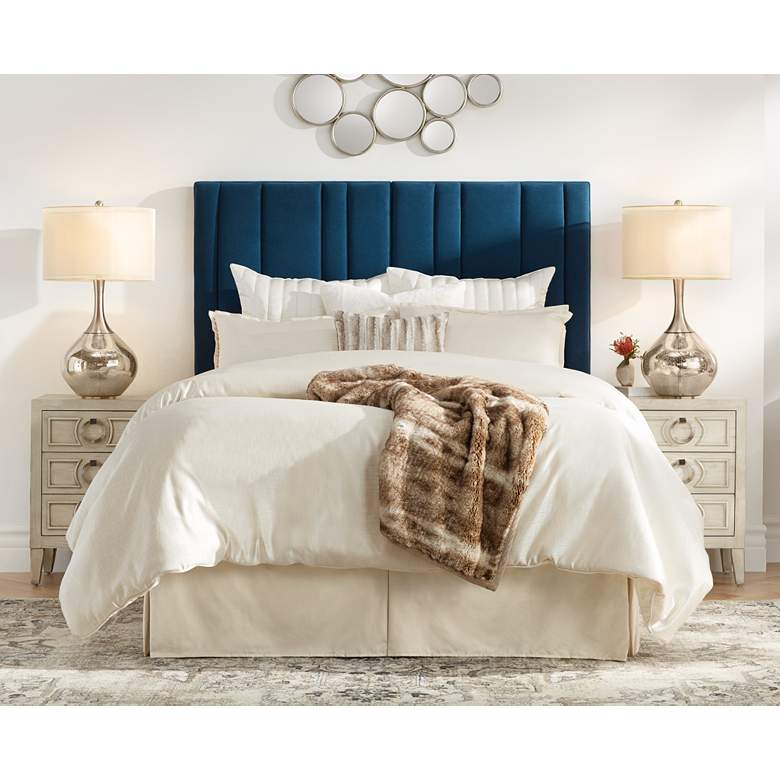 Cadence Channel Tufted Blue Velvet Queen Hanging Headboard