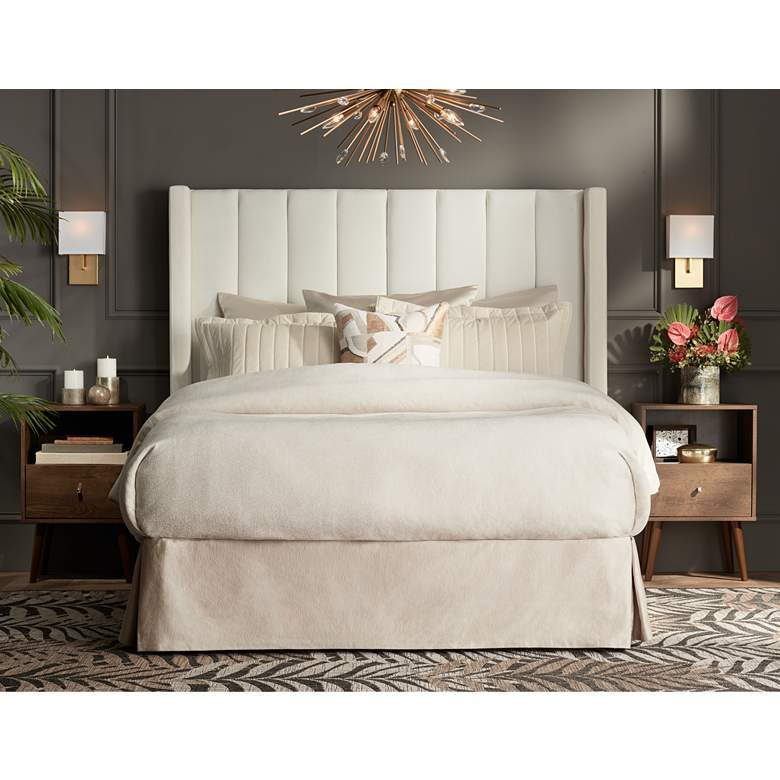 Trent Channel Tufted White Fabric Queen Hanging Headboard in scene