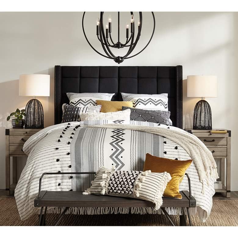 Dylan Charcoal Gray Tufted Queen Size Hanging Headboard