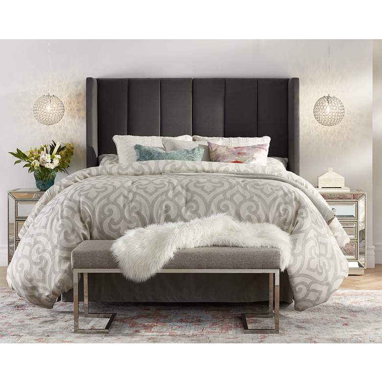 Delway Channel Tufted Gray Velvet Queen Hanging Headboard in scene