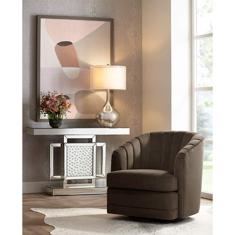 Daphne Chocolate Channel Tufted Swivel Chair in scene