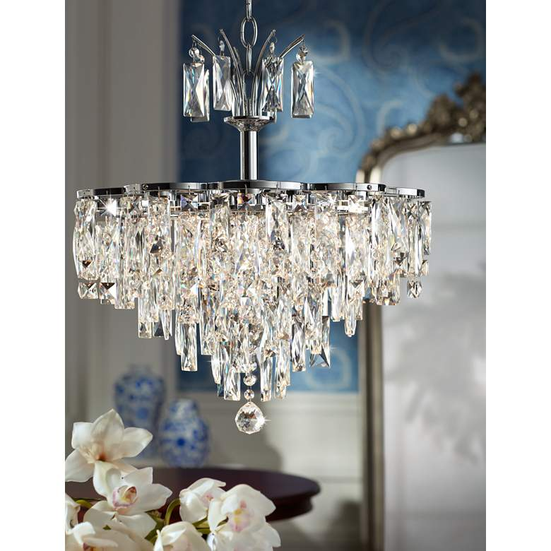 "Villette 20 1/4"" Wide Chrome and Crystal LED Pendant Light in scene"