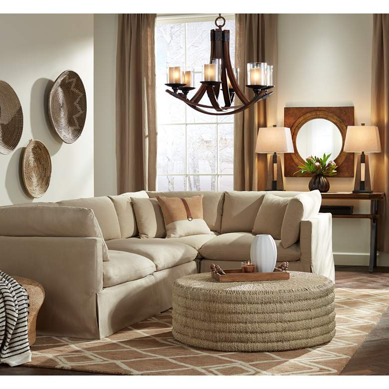 Skye 4 Section Peyton Sahara Fabric Modular Sofa in scene