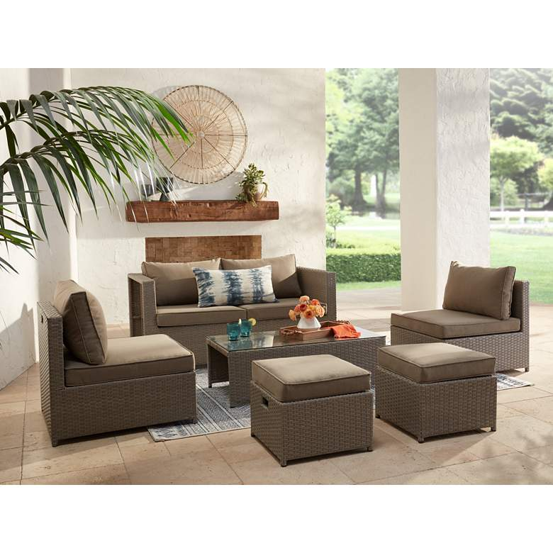 Clove Bay 6-Piece Brown Rattan Sofa Set in scene
