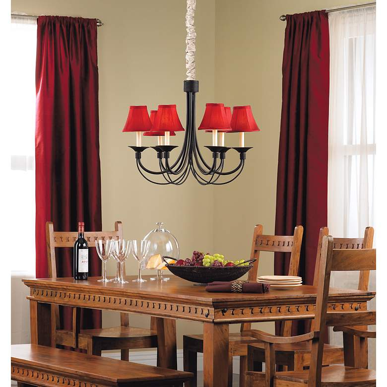 Deep Red Small Bell Lamp Shade 3x6x5 (Clip-On) in scene