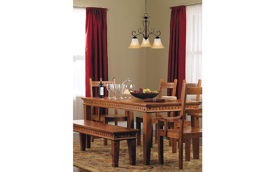 Dining Room Table Bench Seating Downlight Chandelier
