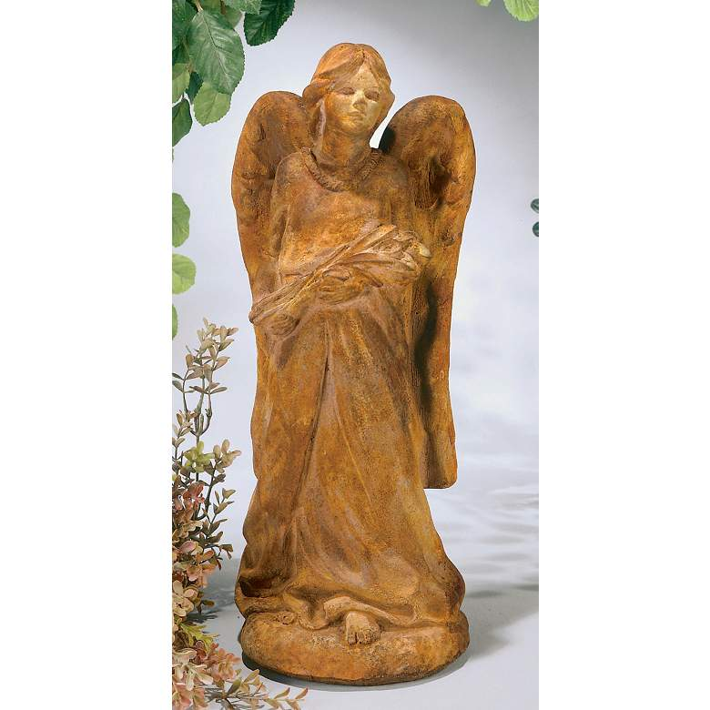 "Henri Studio Cast Stone Large Angel 29 1/2""H Garden Accent in scene"